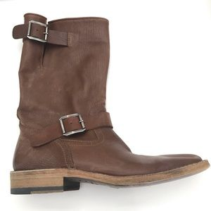 Costume National Slouchy Leather Buckle Boots